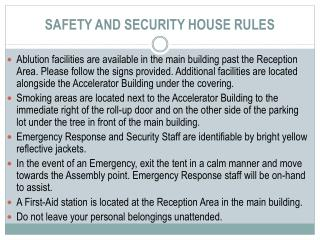 SAFETY AND SECURITY HOUSE RULES
