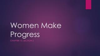 Women Make Progress