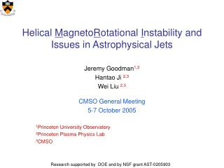 Helical  M agneto R otational  I nstability and Issues in Astrophysical Jets