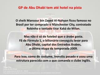 GP de Abu Dhabi tem até hotel na pista