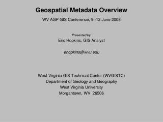 Geospatial Metadata Overview