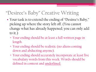 """Desiree's Baby"" Creative Writing"