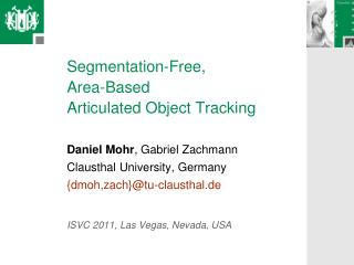 Segmentation-Free,  Area-Based  Articulated Object Tracking