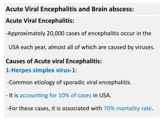 Acute Viral Encephalitis and Brain abscess: