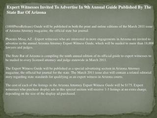 Expert Witnesses Invited To Advertise In 9th Annual Guide Pu