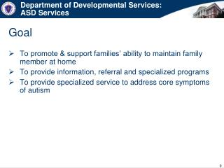 Department of Developmental Services: ASD Services