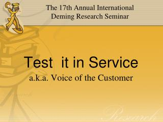 Test  it in Service