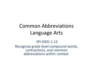 Common Abbreviations Language Arts