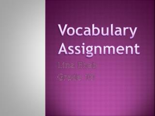 Vocabulary  Assignment