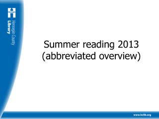 Summer reading 2013 (abbreviated overview)
