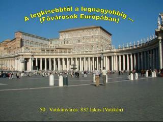 50.  Vatikánváros: 832 lakos (Vatikán)