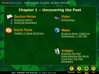 Chapter 1 – Uncovering the Past