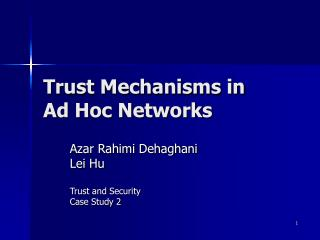 Trust Mechanisms in Ad Hoc Networks