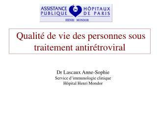 Qualité de vie des personnes sous traitement antirétroviral