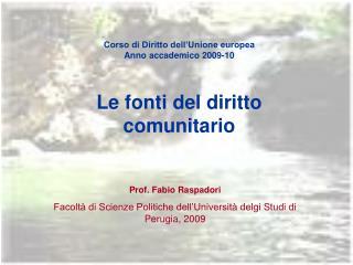 Corso di Diritto dell'Unione europea Anno accademico 2009-10 Le fonti del diritto comunitario