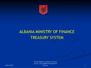 ALBANIA MINISTRY OF FINANCE  TREASURY SYSTEM