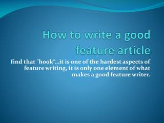 How to write a good feature article