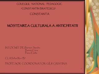 "COLEGIUL    NA TIONAL  PEDAGOGIC           ""CONSTANTIN  BRATESCU"""