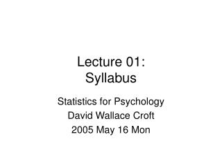 Lecture 01: Syllabus