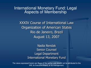 XXXIV Course of International Law Organization of American States Rio de Janeiro, Brazil August 13, 2007  Nadia Rendak