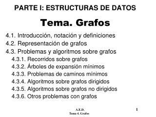 PARTE I: ESTRUCTURAS DE DATOS Tema. Grafos