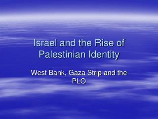 Israel and the Rise of Palestinian Identity