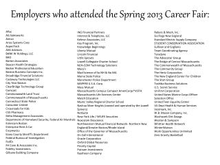 Employers who attended the Spring 2013 Career Fair: