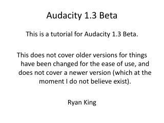 Audacity 1.3 Beta