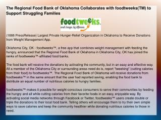 The Regional Food Bank of Oklahoma Collaborates with foodtwe