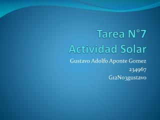 Tarea N�7 Actividad Solar
