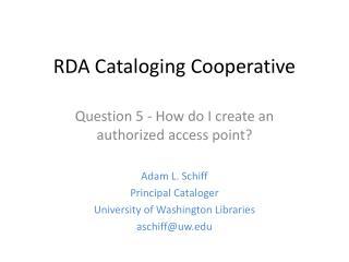 RDA Cataloging Cooperative