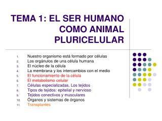TEMA 1: EL SER HUMANO COMO ANIMAL PLURICELULAR
