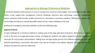 Approaches to Manage ECommerce Websites