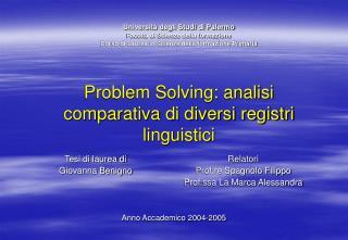 Problem Solving: analisi comparativa di diversi registri linguistici