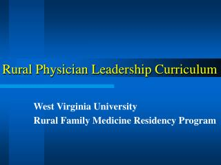 Rural Physician Leadership Curriculum