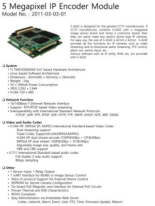 System       • TI TMS320DM365  SoC  based Hardware Architecture