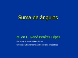 Departamento de Matemáticas Universidad Autónoma Metropolitana-Iztapalapa