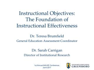 Instructional Objectives: The Foundation of  Instructional Effectiveness