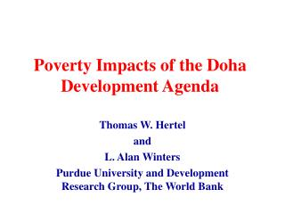 Poverty Impacts of the Doha Development Agenda