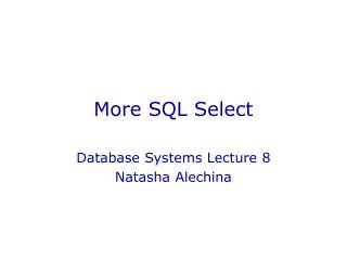 More SQL Select