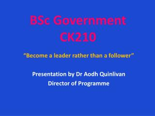 BSc Government CK210