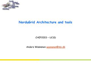 NorduGrid Architecture and tools
