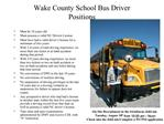 Wake County School Bus Driver Positions