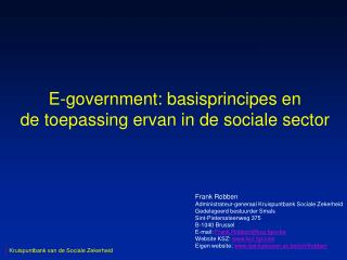E-government: basisprincipes en de toepassing ervan in de sociale sector