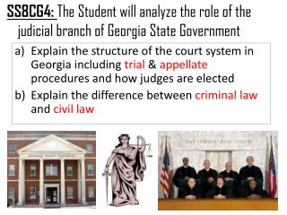 SS8CG4:  The Student will analyze the role of the judicial branch of Georgia State Government