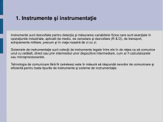 1 . Instrumente  şi instrumentaţie