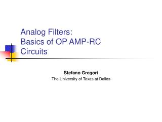 Analog Filters: Basics of OP AMP-RC Circuits