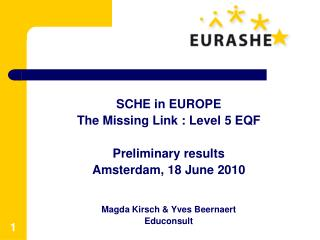 SCHE  in EUROPE The Missing Link : Level 5 EQF Preliminary results Amsterdam ,  18 June  2010
