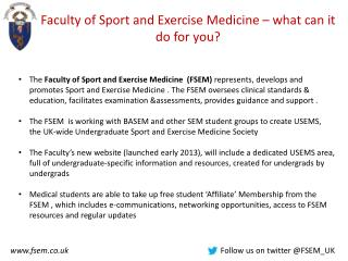 Faculty of Sport and Exercise Medicine – what can it do for you?