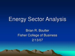 Energy Sector Analysis